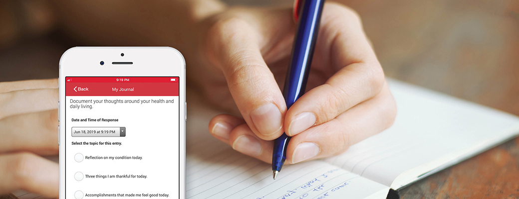Self-Reflect & Keep a Clear Mind using the 'My Journal' feature in the My MedicAlert app.