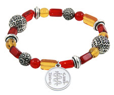 Mosaic Fire Glass Beads Bracelet