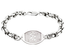Double Helix Surgical Steel Bracelet - Large Emblem