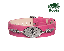 Roots Slim Leather Cuff - Dark Pink (Stainless Steel Emblem)