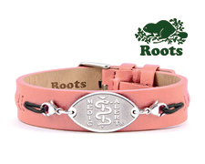 Roots Slim Leather Cuff - Pink (Stainless Steel Emblem)