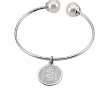 STEELX Open Bangle with Pearls