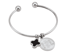 "STEELX ""A Dash of Charm"" Bangle with Clover"