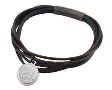 STEELX Brown and Black Leather Bracelet