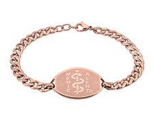Rose Gold Coloured Stainless Steel Curb Chain Bracelet