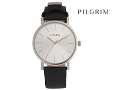 Pilgrim Silver Leather Watch - Black