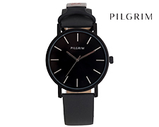 Pilgrim Hematite Leather Watch - Black