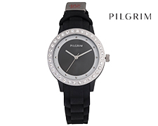 Pilgrim Silver Plated Soft Silicone Watch with Preciosa® crystals -  Black