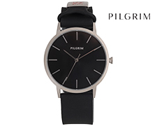 Pilgrim Black Silver Plated Soft Silicone Watch - Black