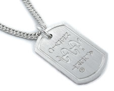 London Dog Tag with Silver Chain – Brushed