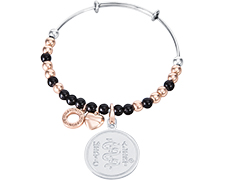 Emozioni Rose Gold and Silver Plated Bangle - Black