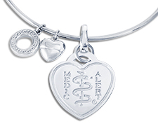 Emozioni Silver Plated Bangle (Heart Emblem)