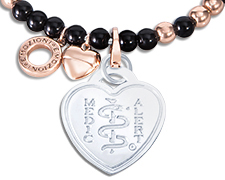 Emozioni Rose Gold and Silver Plated Bangle - Black (Heart Emblem)