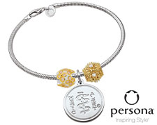 Persona® Sterling Silver Bracelet with Gold Plated Sterling Silver Beads