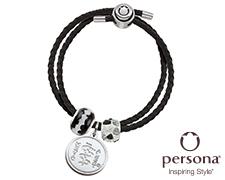 Persona® Double Wrap Black Leather Bracelet with Black and White Beads