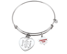 Sterling Silver Bangle with Canada 150 Charm (Heart Emblem)