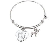 Sterling Silver Bar Bangle with Moose Charm (Heart Emblem)