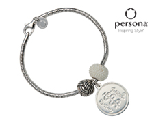 Persona® Sterling Silver Snake Chain Bracelet with White Pearl and Love Knot Beads