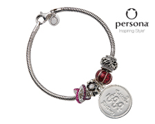 Cable Bracelet with Flower Charms