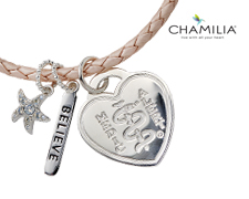 "Chamilia Blush Braided Leather Bracelet with ""Believe"" Charm (Heart)"