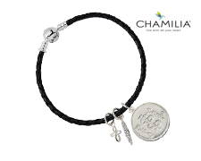 Chamilia Black Braided Leather Bracelet with Crystal Charms