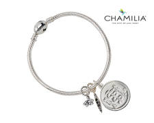 Chamilia Silver Bracelet with Crystal Charms