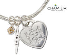 "Chamilia Silver Bracelet with ""Shine"" Charm (Heart)"