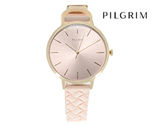 Pilgrim Gold Plated Silicone Watch - Rose