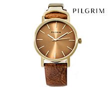 Pilgrim Gold Plated Leather Watch - Brown