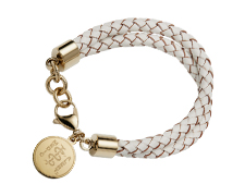 "STEELX ""Pretty Edgy"" White Leather Bracelet - Gold"