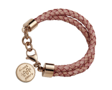 "STEELX ""Pretty Edgy"" Pink Leather Bracelet - Rose Gold"
