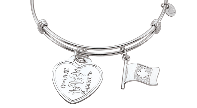 Sterling Silver Bar Bangle with Canadian Flag (Heart Emblem)