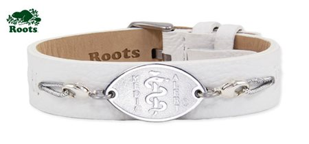 Roots Slim Leather Cuff - White (Stainless Steel Emblem)