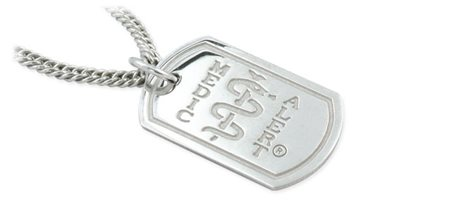 London Dog Tag with Silver Chain – Polished