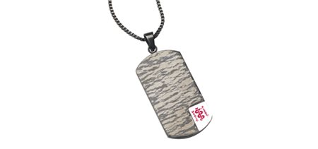 STEELX Black Patterned Dog Tag Pendant