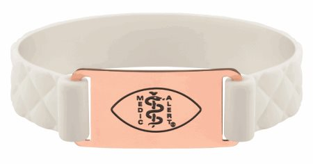 Premier Active White Silicone Band - Rose Gold Emblem