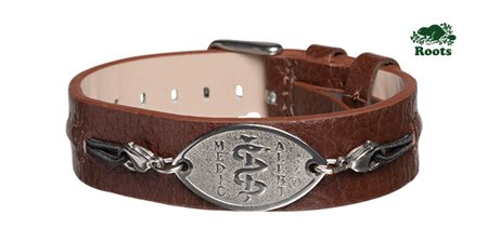 Roots Slim Leather Cuff - Brown (Stainless Steel Emblem)