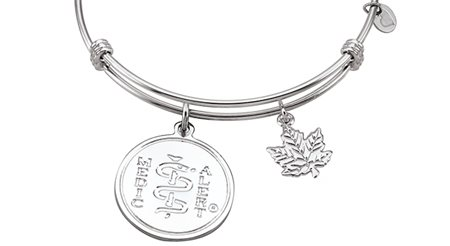 Sterling Silver Bar Bangle with Maple Leaf