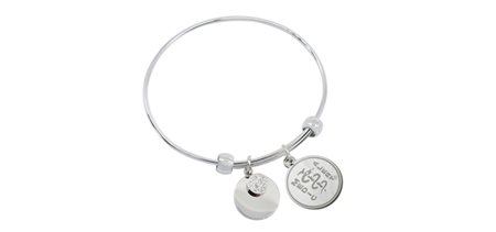 STEELX Stretchable bangle with crystal and silver tone circle charms