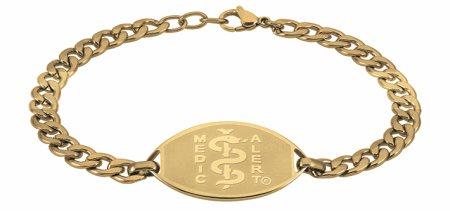 Gold Coloured Stainless Steel Curb Chain Bracelet